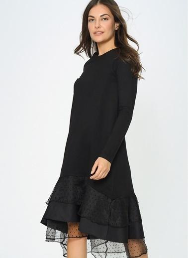 Loves You Eteği Organze Puantiyeli Sweat Elbise Siyah